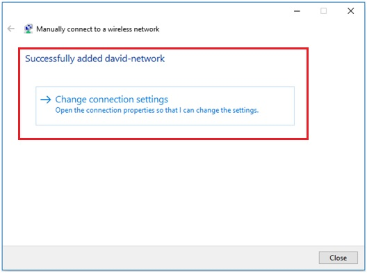 Windows 10 successfully added wifi network
