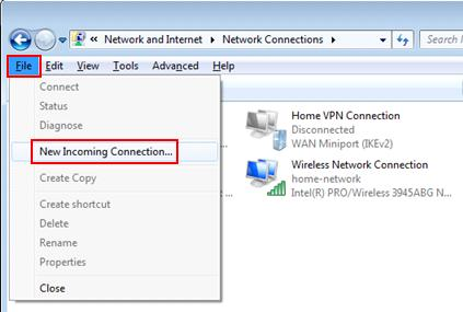 Windows 7 - Set up new PPTP VPN host or server