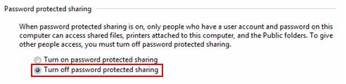Windows 7 - turn off password protected sharing