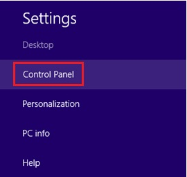 Windows 8 control panel