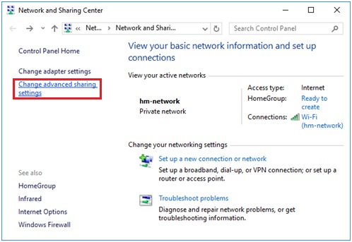 Windows 10 Advanced Sharing settings
