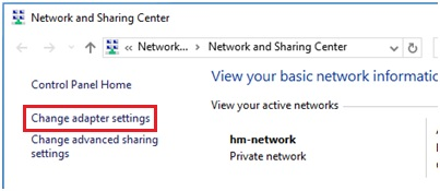 Windows 10 change adapter settings