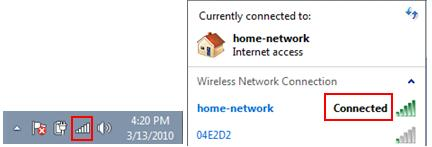 Windows 7 - connected to wireless network