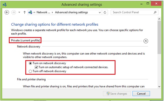 Windows 8 network discovery