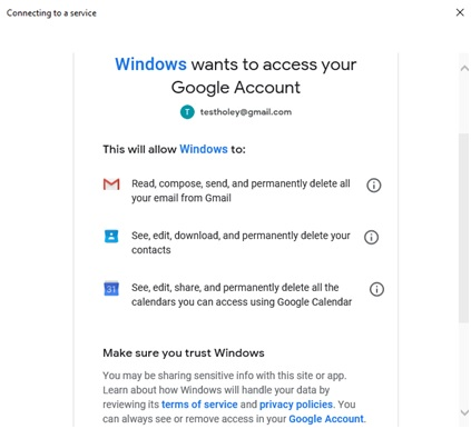 windows access to email