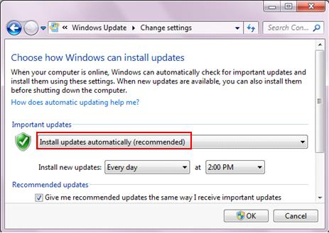 Microsoft Windows automatic update