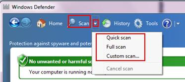 windows defender scans spyware, adware, worm, virus, harmful software