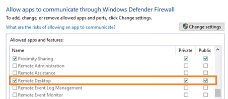 windows firewall allow remote desktop