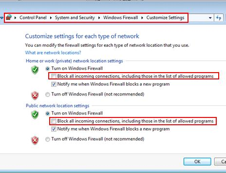windows firewall customized settings