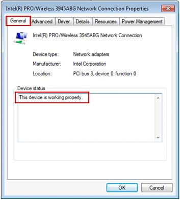wireless adapter driver status in Windows 7