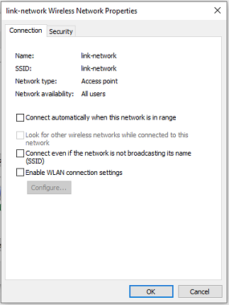 wireless network connection properties