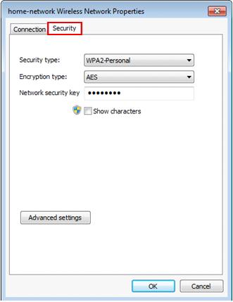 Windows 7 wireless network properties - security tab