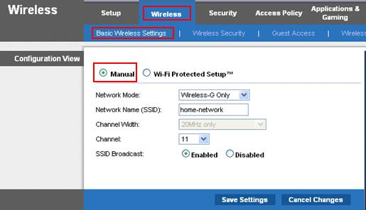 SSID Wireless Network Settings