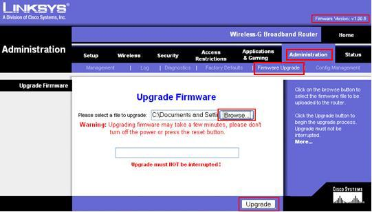 Linksys Wireless Router Firmware Upgrade