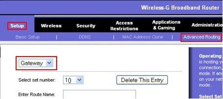 wireless router in Gateway mode