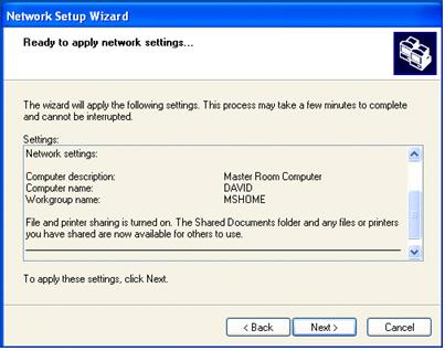 Wizard Network Settings