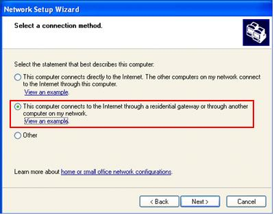 Internet Connection Sharing Network Setup Wizard