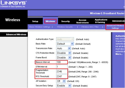 Linksys router advanced wireless settings