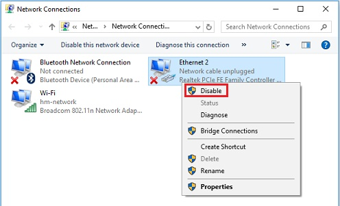 Windows 10 disable wired network adapter