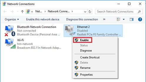 Windows10 enable wired network adapter