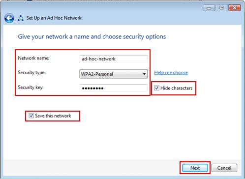 ad hoc wireless network settings