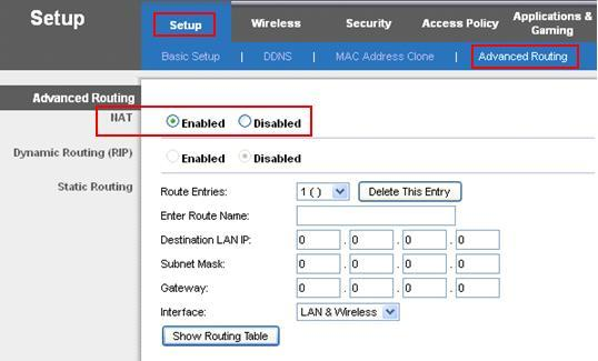 wireless router in NAT or Gateway mode
