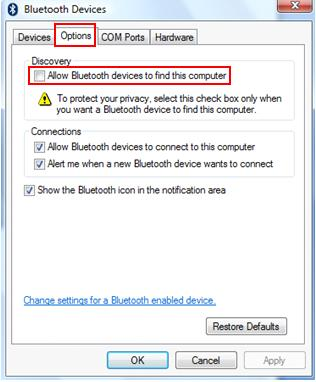 allow Bluetooth devices to find this computer