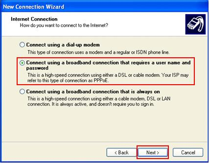 DSL or Cable PPPoE broadband connection with username password