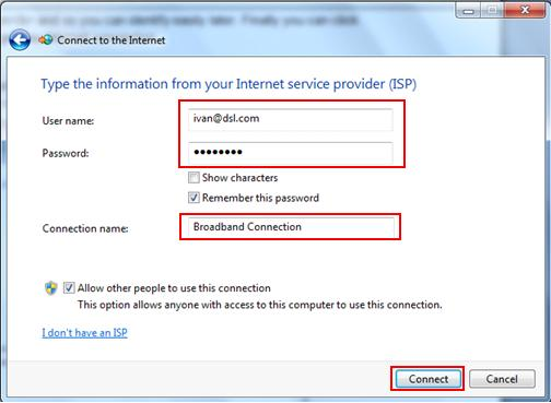 Set up broadband PPPoE with username and password