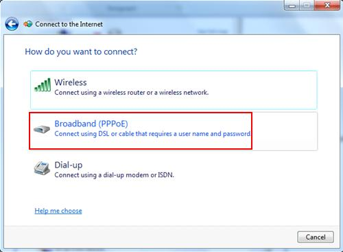 broadband PPPoE - connect using DSL or Cable that needs username and password