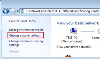 change adapter settings in Windows 7