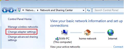 change network adapter settings in Windows 7