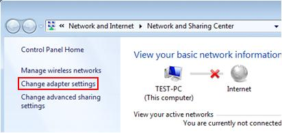 change adapter settings in Network and Sharing Center Windows 7