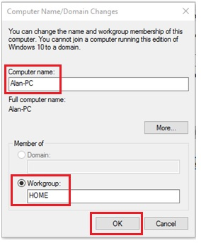 changed computer name workgroup