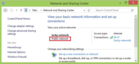 Windows 8 check network location type