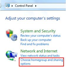 choose homegroup and sharing options in Windows 7