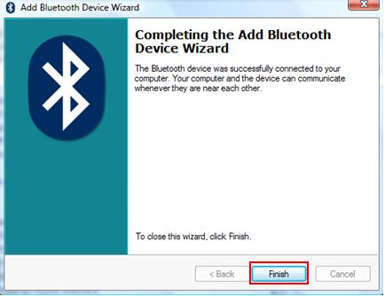 completing the add bluetooth device wizard