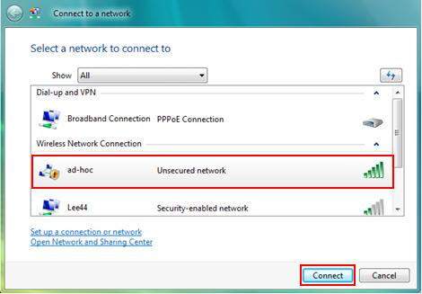 Connect to Ad Hoc Wireless Network