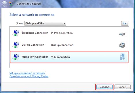 Connect to PPTP VPN