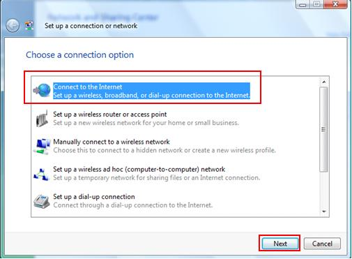 connect to the Internet in Windows Vista