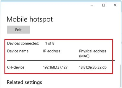 connected devices to Windows 10 mobile hotspot
