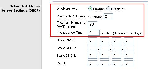 DHCP Wireless Setting