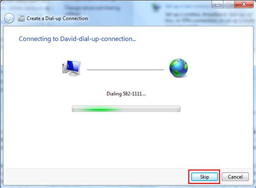dial up connection with dial up modem