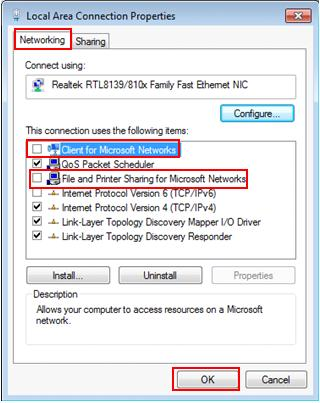 disable file and printer sharing Win7