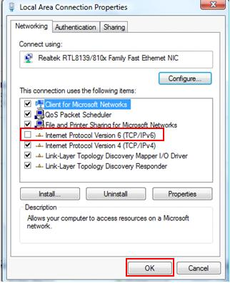 disable IPv6 in Windows Vista