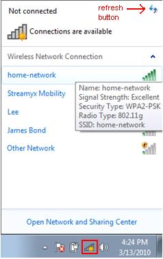 display detected wireless network in Windows 7
