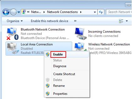 enable network adapter