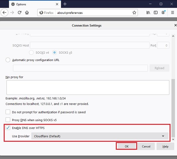Firefox enable DNS over HTTPS