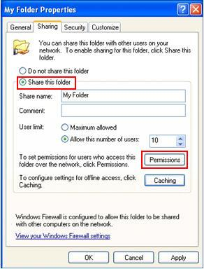 Share file or folder with permission or password control