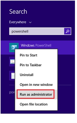 launch PowerShell Admin